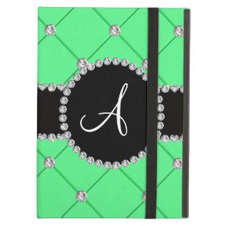 Monogram light green tuft diamonds iPad air covers