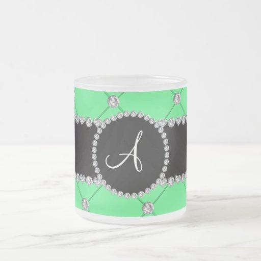 Monogram light green tuft diamonds coffee mug