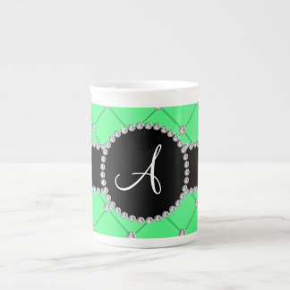 Monogram light green tuft diamonds tea cup