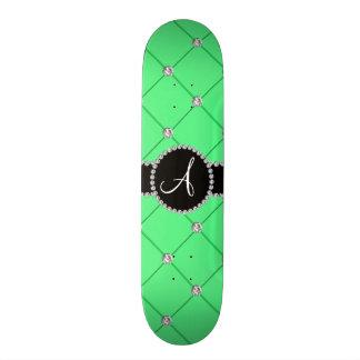 Monogram light green tuft diamonds skate board deck