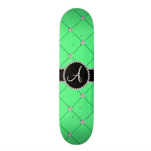 Monogram light green tuft diamonds skate board deck