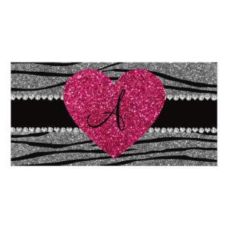 Monogram light grey glitter zebra stripes heart photo cards