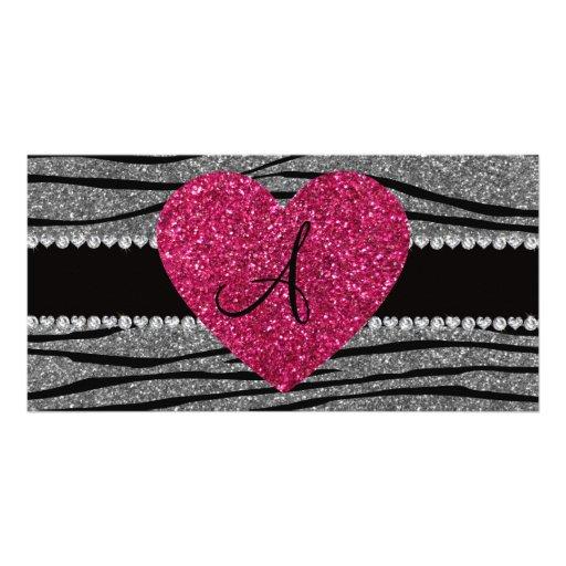 Monogram light grey glitter zebra stripes heart picture card