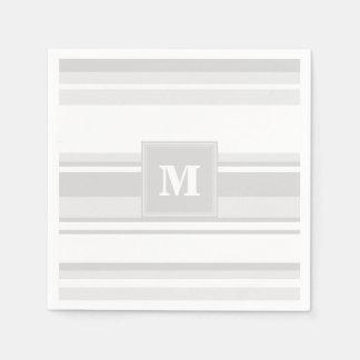 Monogram light grey stripes disposable serviettes