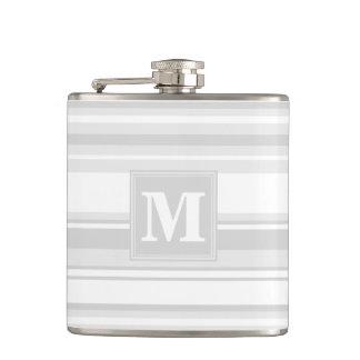 Monogram light grey stripes flasks