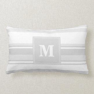 Monogram light grey stripes lumbar pillow