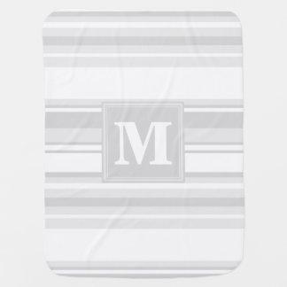 Monogram light grey stripes pramblankets