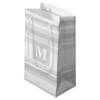 Monogram light grey stripes small gift bag