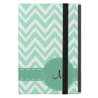Monogram Light Mint Green and White Zigzag Pattern iPad Mini Cover
