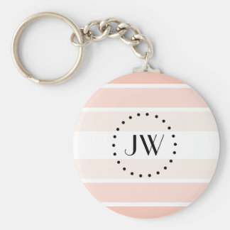 Monogram Light Pink Coral Pastel Stripes Keychain