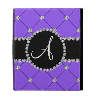 Monogram light purple tuft diamonds iPad cases