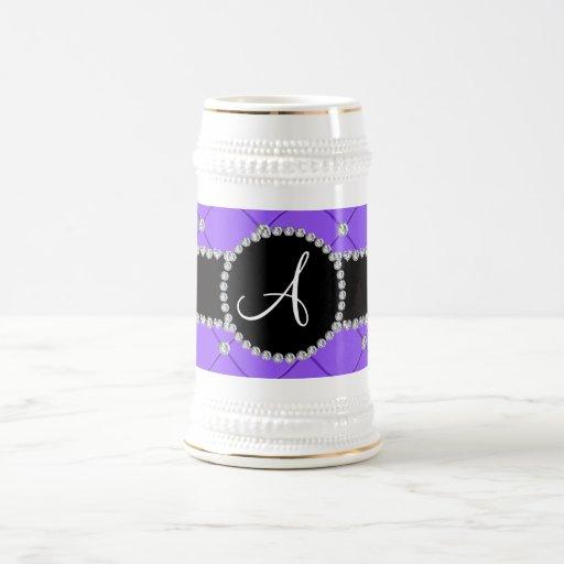 Monogram light purple tuft diamonds mug