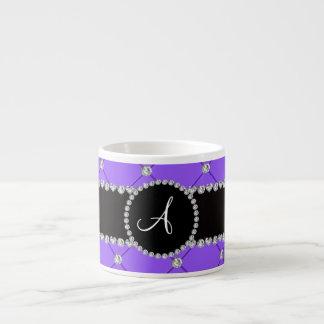 Monogram light purple tuft diamonds 6 oz ceramic espresso cup