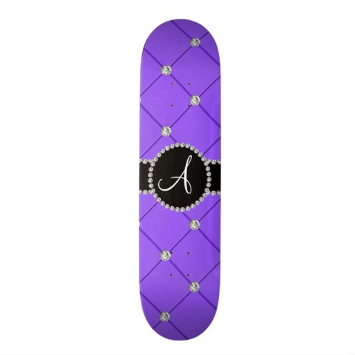 Monogram light purple tuft diamonds skate deck