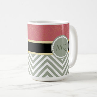 Monogram Light Sage Chevrons & Black/Gold Ribbon Coffee Mug