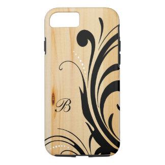 Monogram Light Wood with Black Swirls iPhone 7 Case