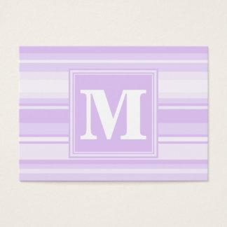 Monogram lilac stripes business card