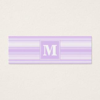 Monogram lilac stripes mini business card