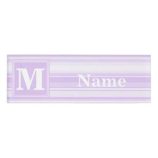 Monogram lilac stripes name tag