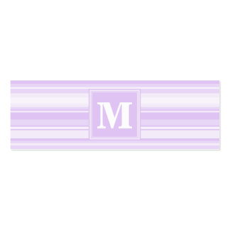 Monogram lilac stripes pack of skinny business cards