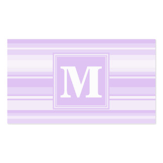Monogram lilac stripes pack of standard business cards