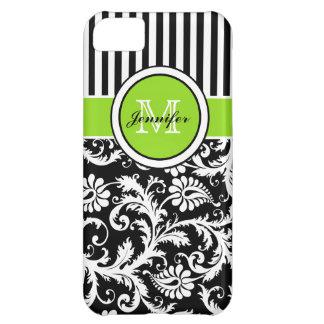 Monogram Lime Black White Striped Damask iPhone 5 iPhone 5C Case