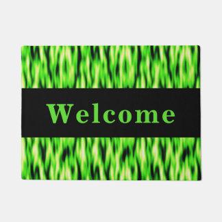 Monogram Lime Green Abstract Pattern Doormat