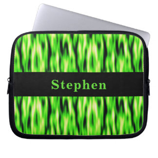 Monogram Lime Green Abstract Pattern Laptop Sleeve