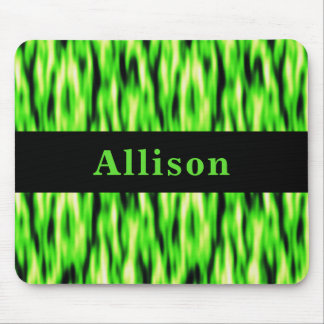 Monogram Lime Green Abstract Pattern Mouse Pad