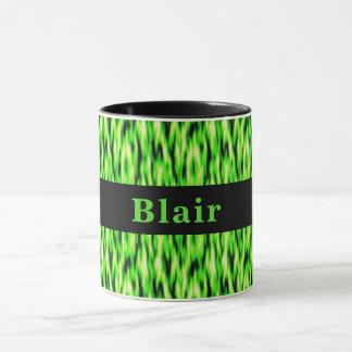 Monogram Lime Green Abstract Pattern Mug