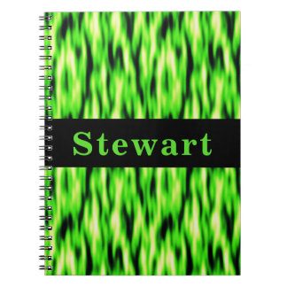 Monogram Lime Green Abstract Pattern Notebook
