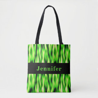 Monogram Lime Green Abstract Pattern Tote Bag