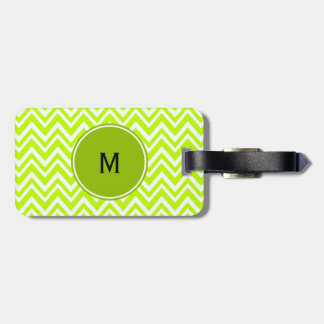 Monogram Lime Green and White Zigzag Pattern Luggage Tag