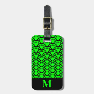 Monogram Lime Green Art Deco Scallop Fish Scales Luggage Tag