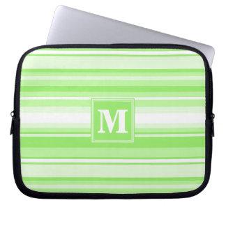 Monogram lime green stripes laptop computer sleeve
