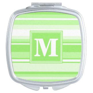 Monogram lime green stripes vanity mirror