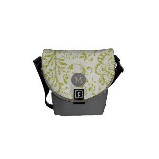 Monogram Lime Grey Modern Vintage Floral Pattern Commuter Bags
