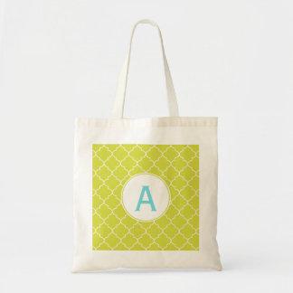 Monogram Lime Tote Bag