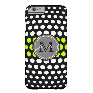 Monogram Lime & White Polka Dots Pattern Barely There iPhone 6 Case