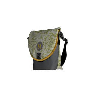 Monogram Lime Yellow Modern Vintage Floral Pattern Messenger Bag
