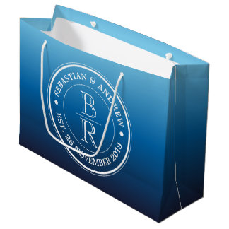 Monogram Logo Blue Ombre Gay Wedding Anniversary Large Gift Bag