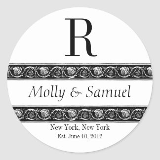 Monogram Logo Ornate Names Date Wedding Label Round Sticker