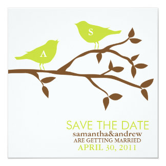 Monogram Love Birds Wedding Save the Date Card