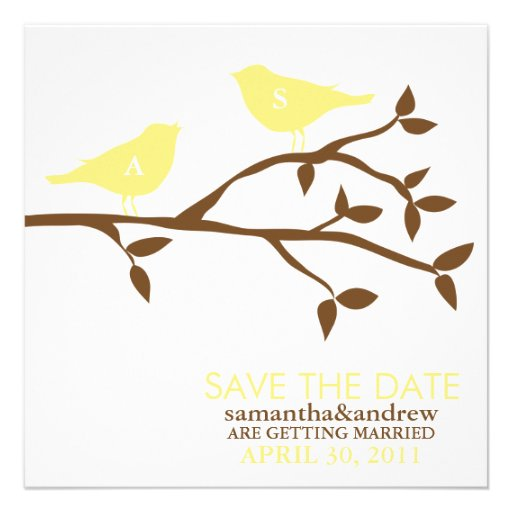 Monogram Love Birds Wedding Save the Date Personalized Announcement