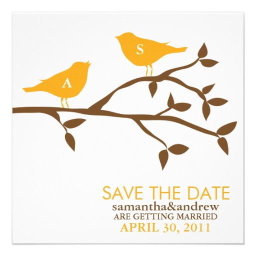 Monogram Love Birds Wedding Save the Date Custom Invites