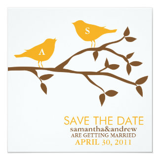 "Monogram Love Birds Wedding Save the Date 5.25"" Square Invitation Card"