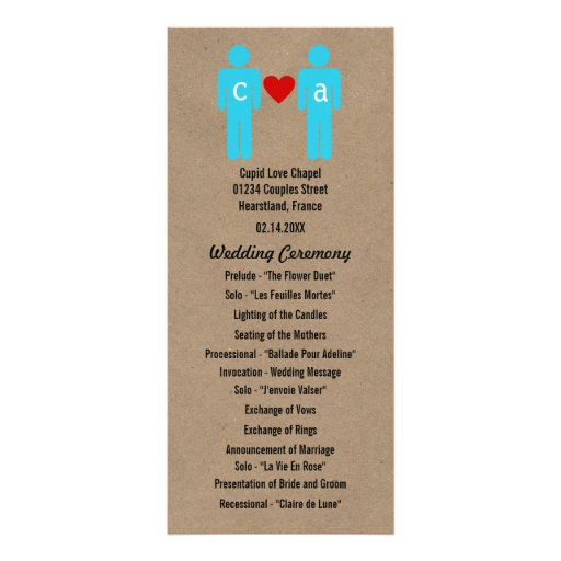 Monogram Love Couple Wedding Programs Customized Rack Card