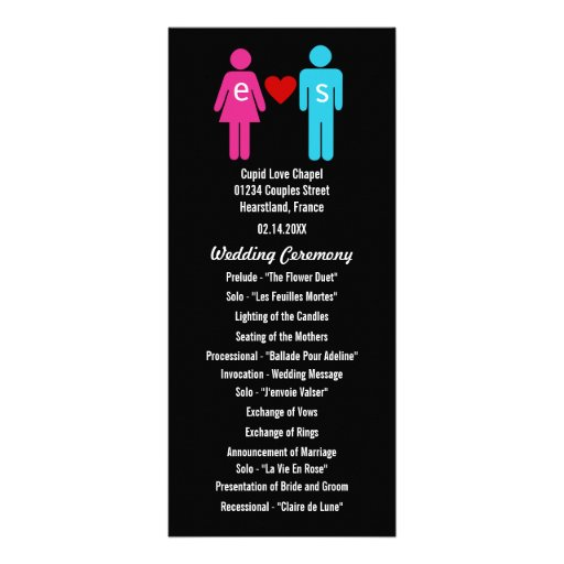 Monogram Love Couple Wedding Programs Full Color Rack Card