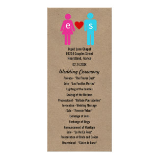 Monogram Love Couple Wedding Programs Personalized Rack Card