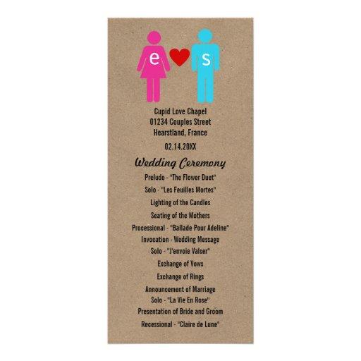 Monogram Love Couple Wedding Programs Rack Cards